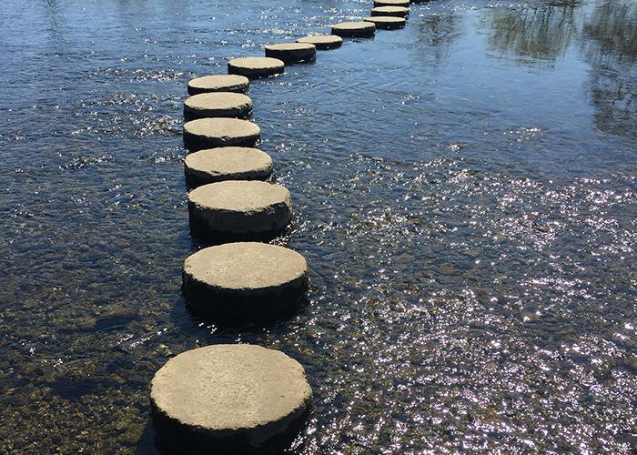 Runder Plattenweg übers Wasser - Symbol für zielführende BNE-Projekte
